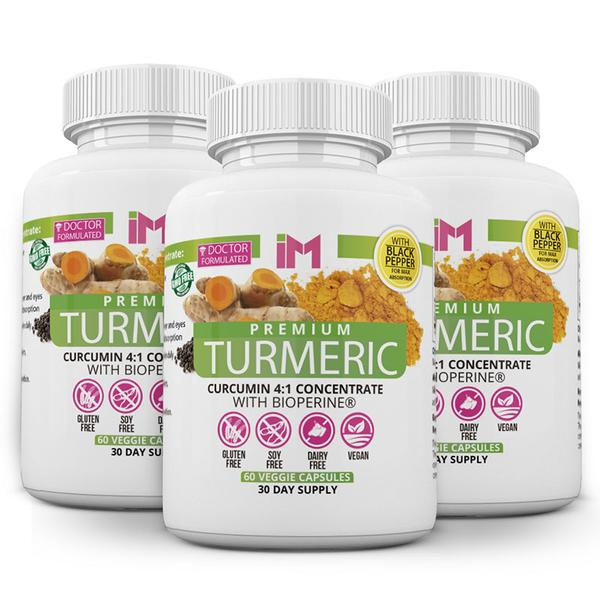 IM Premium Turmeric 4:1 Concentrate with Bioperine - 3 Bottles