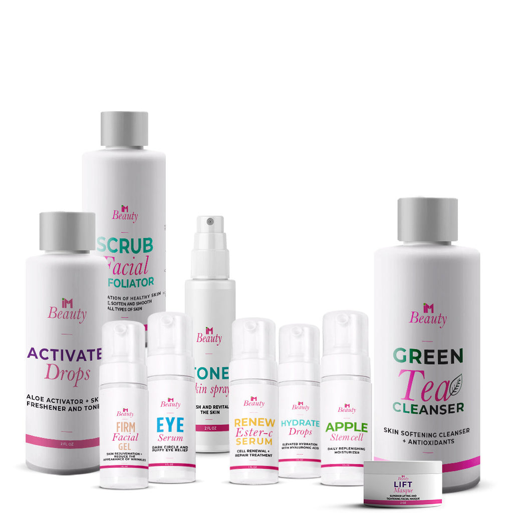 IM Beauty Total Care Pack - IM Apple Stem Cell Moisturizer, IM Eye Serum, IM Firm, IM Green Tea Cleanser, IM Hydrate, IM Renew Ester-C Serum, IM Scrub, IM Tone, IM Activate, IM Lift