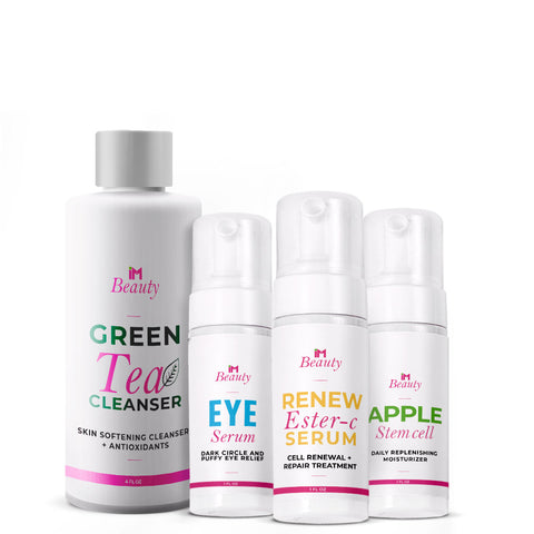 IM Beauty Basic Care Pack - IM Apple Stem Cell Moisturizer, IM Eye Serum, IM Green Tea Cleanser, IM Renew Ester-C Serum