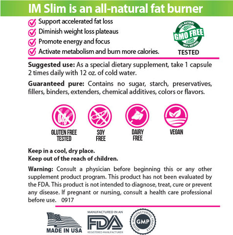 IM Slim Fat Burner & Appetite Suppresant - 3 Bottles