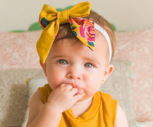 Floral Mustard Hairbow
