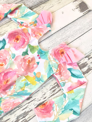 Long Sleeve Floral Bathing Suit