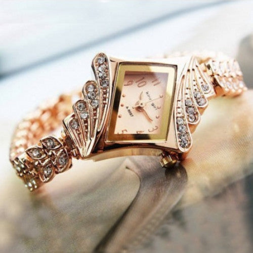 Unique Full Crystal Diamonds for Ladies Quartz Wristwatches, King Girl Royal Rose Gold Bracelet Watch Women Top Brand