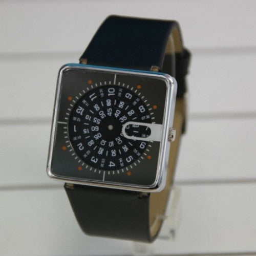 Quartz Watch Unique Design Wristwatches Black Leather Strap