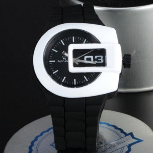 Unique Window Case Military Casual Clcok Silicone Band Male Sport Wristwatch
