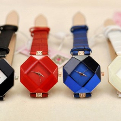 Unique Design Women Dress Quartz Watch Female Leather Strap Crystal Diamond