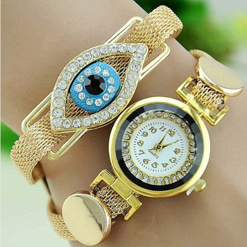 Women Metal Bracelet Watch Gold Serpent Indian Bracelet Blue Eye