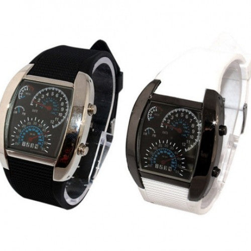 Turbo Flash LED Car Speed Meter Dial Gift Wristwatch