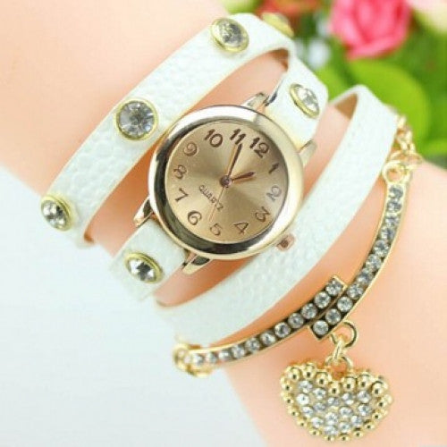 Luxury Heart Pendant Bracelet Wristwatch