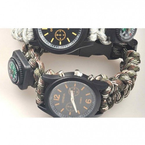Camping Survival Kits Bangle Watch + whistle compass