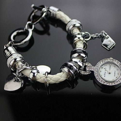 Weave Leather Strap Wrist Watch Heart Pendant