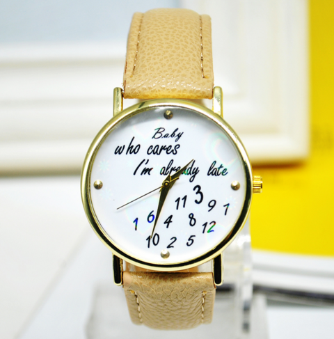 Unique Words Print Leather Band Quartz Watch
