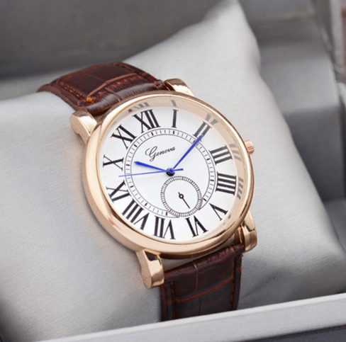 Men's Watches Fashion Women Men Leather Watch