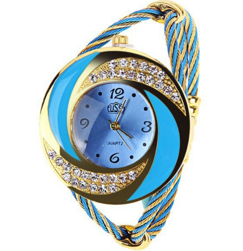 Brightly colored braided leather strap quartz bracelet watch