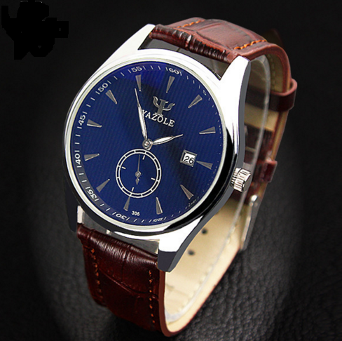 Yazole Luminous Hands Quartz Watch Fashion Leather Men's Wristwatch
