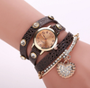Leather Alloy Insert Crystal Love Shape Pendant Bracelet Watch