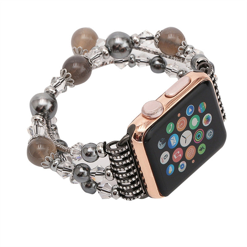 Womens Handmade Beaded Natural Stone Bracelet Replacement for Apple Watch