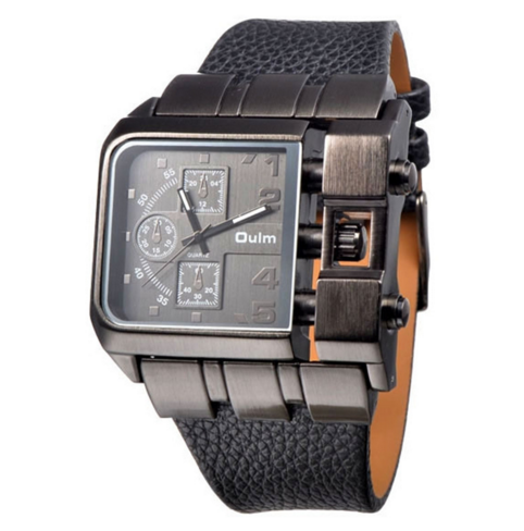 Wide Leather Strap Rectangle Watch