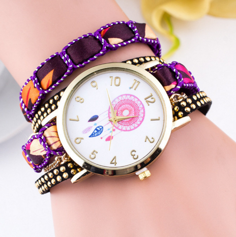 Unique Colorful Leather Strap Women Wristwatches