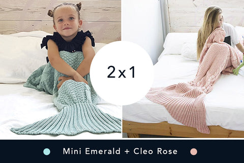 2 Mantas de Sirena - Mini Emerald + Cleo Rose