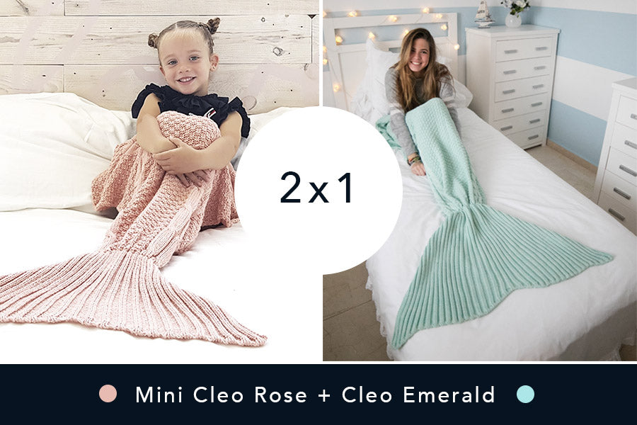 2 Mantas de Sirena - Mini Rose + Cleo Emerald