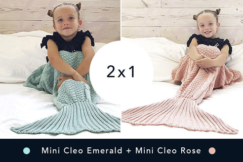2 Mantitas de Sirena - Mini Emerald + Mini Rose