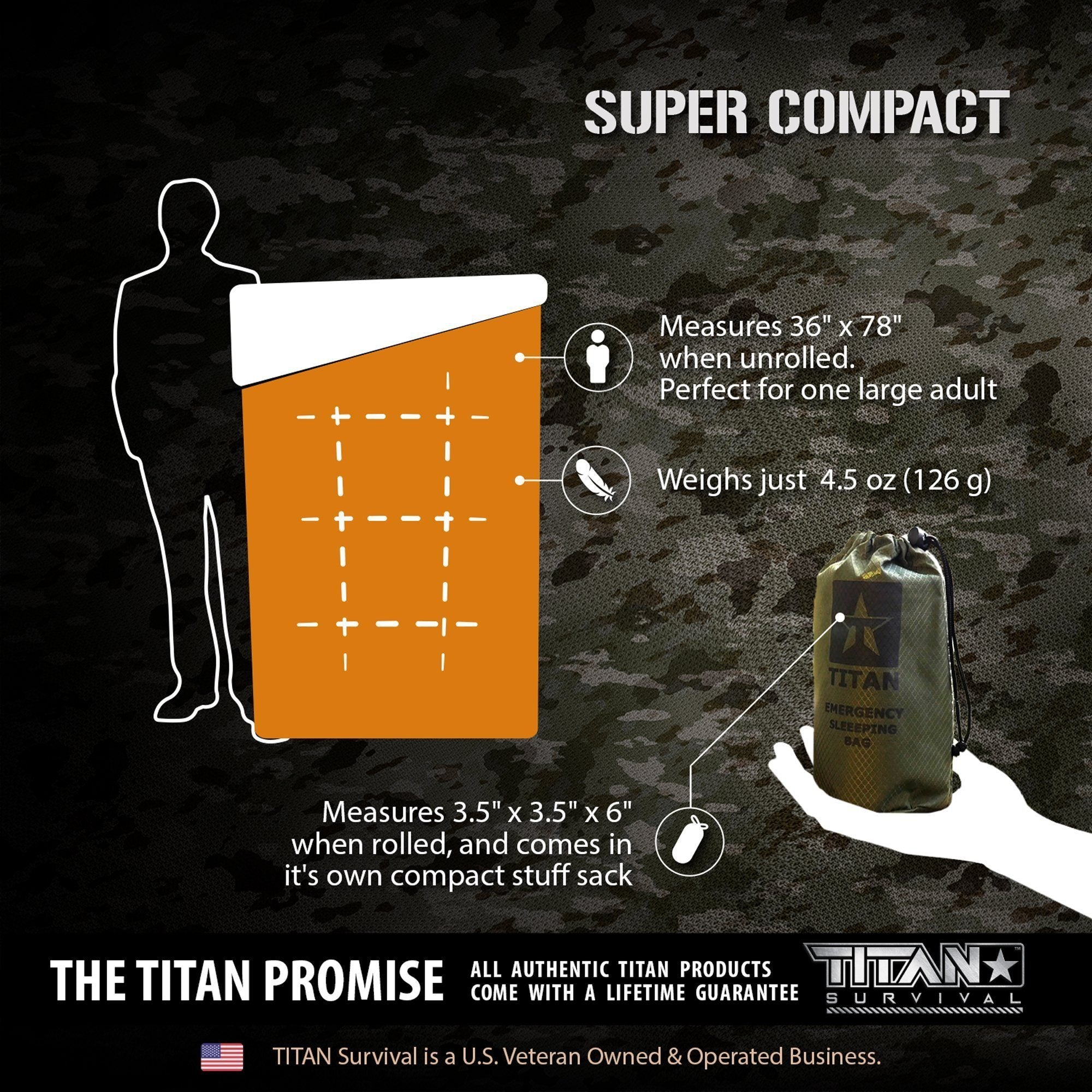 TITAN Emergency Survival Kits Extra-Thick Mylar Sleeping Bag Woodland Shrowd