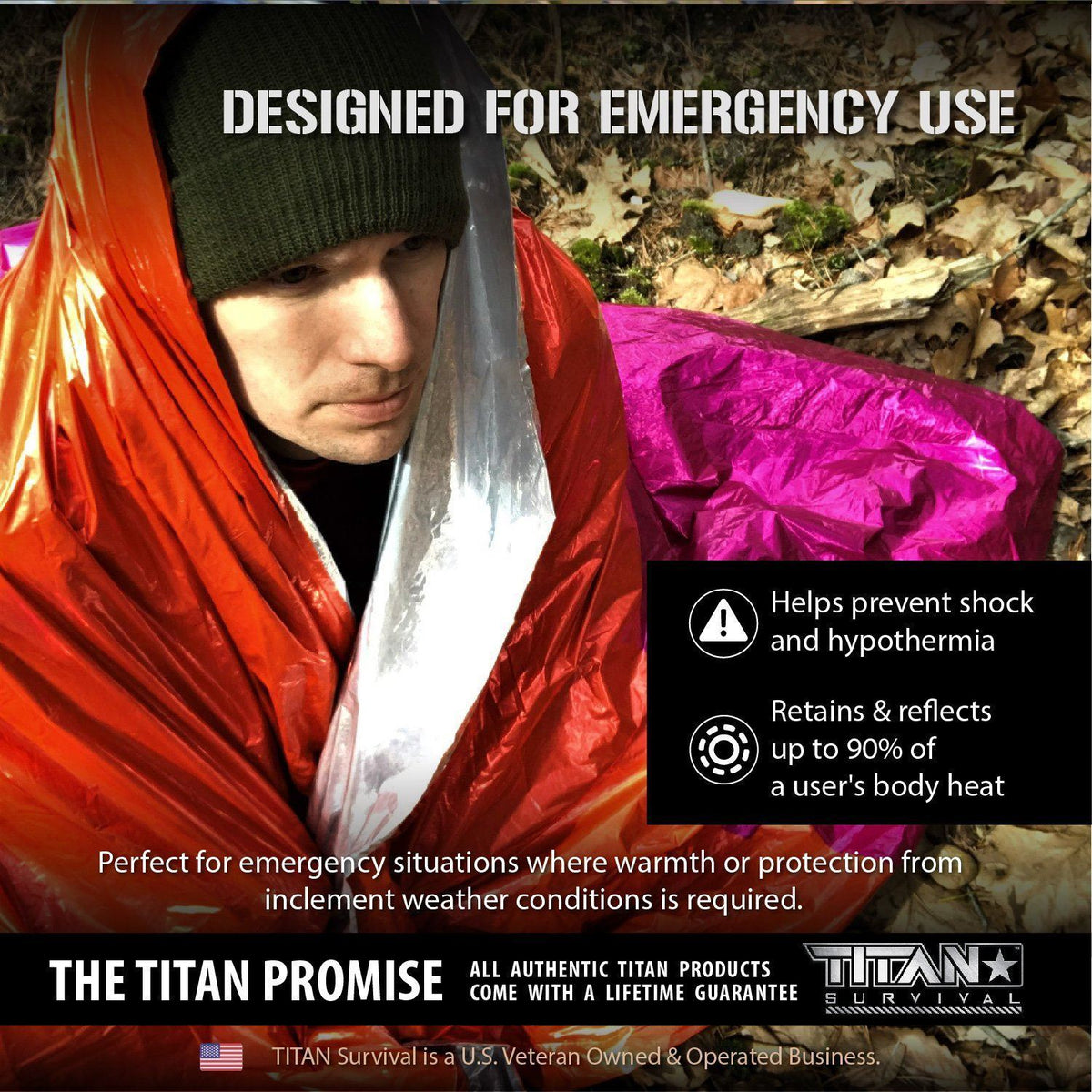 Mylar Survival Blankets, 5-Pack, SIGNAL PANEL (X-LARGE) Survival Blankets Titan Survival
