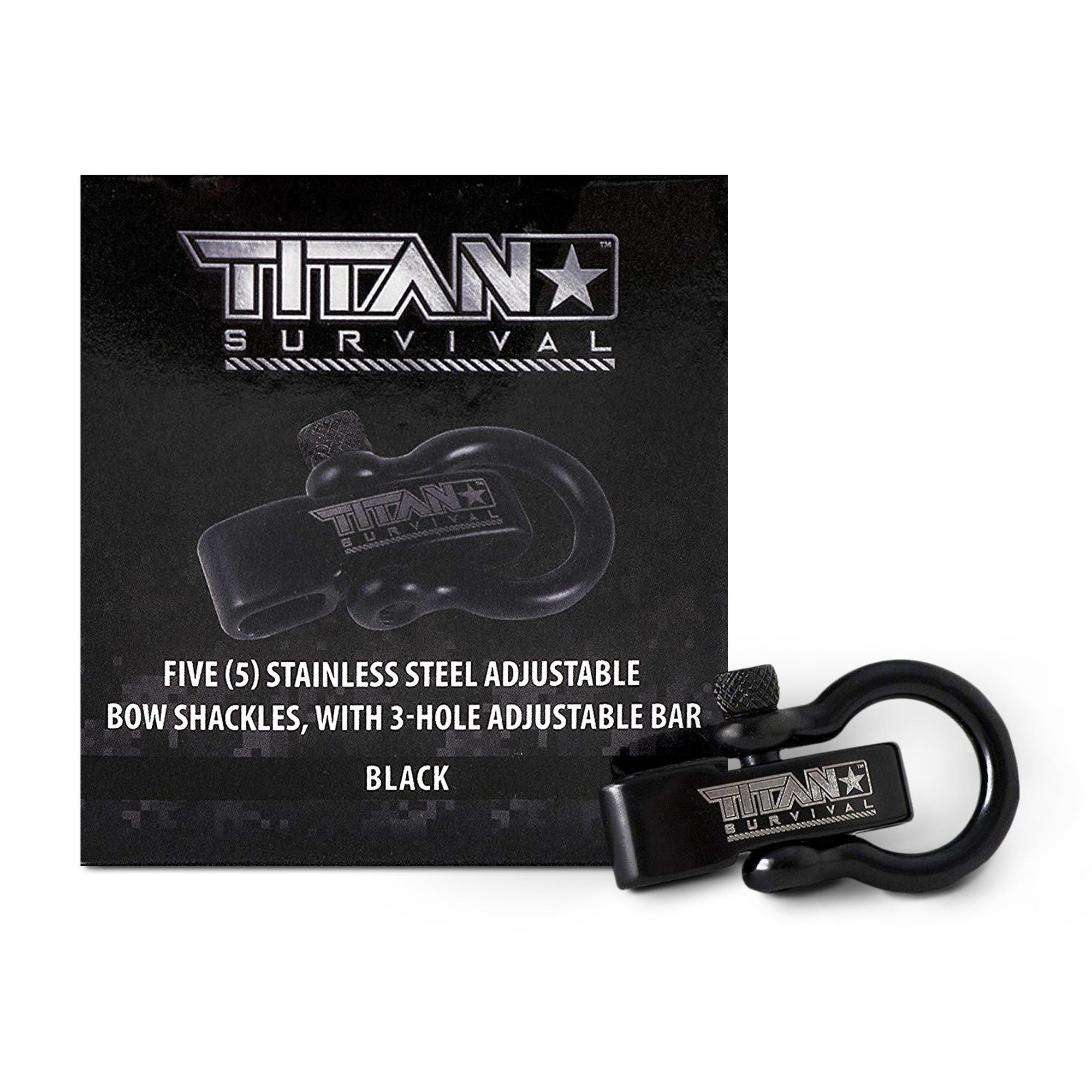 Stainless Steel Bow Shackles, 5-Pack | BLACK Accessories TITAN Survival