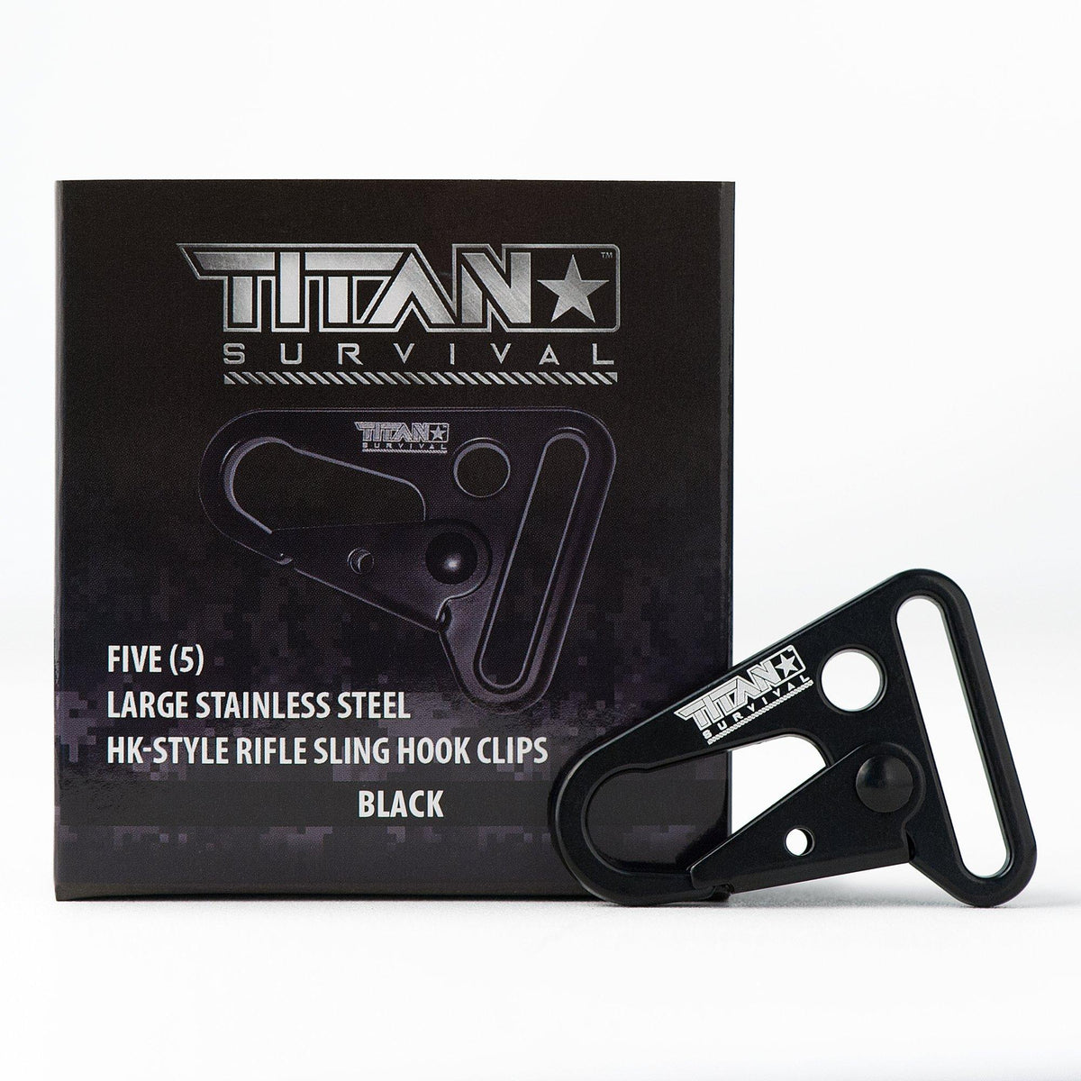 Stainless Steel HK-Style Snap Hooks, 5-Pack Accessories TITAN Survival