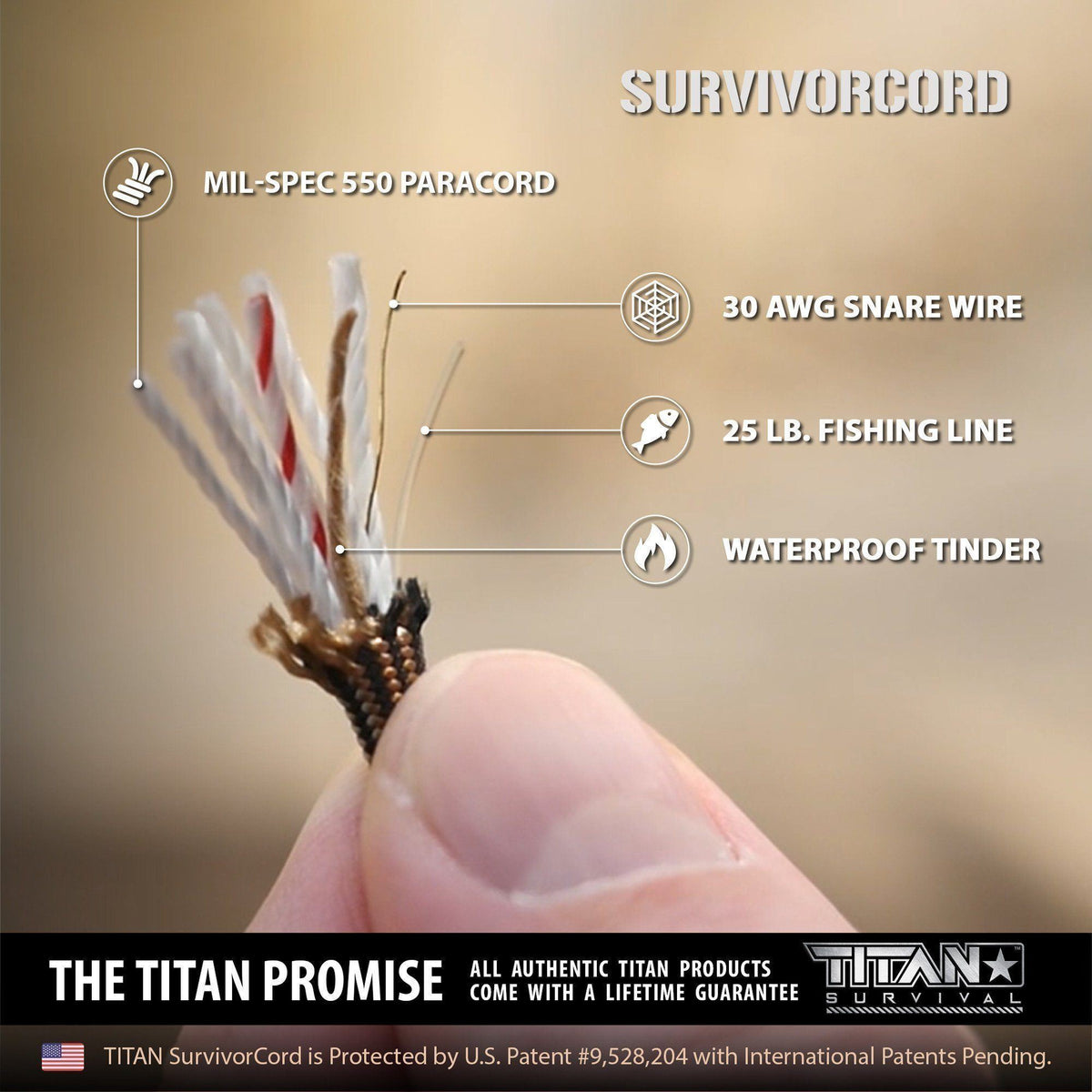 SurvivorCord Keychain | TACTICAL BLACK Survival Essentials TITAN Survival