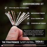 SurvivorCord XT Spool | BLACK, 500 FOOT SurvivorCord XT TITAN Survival
