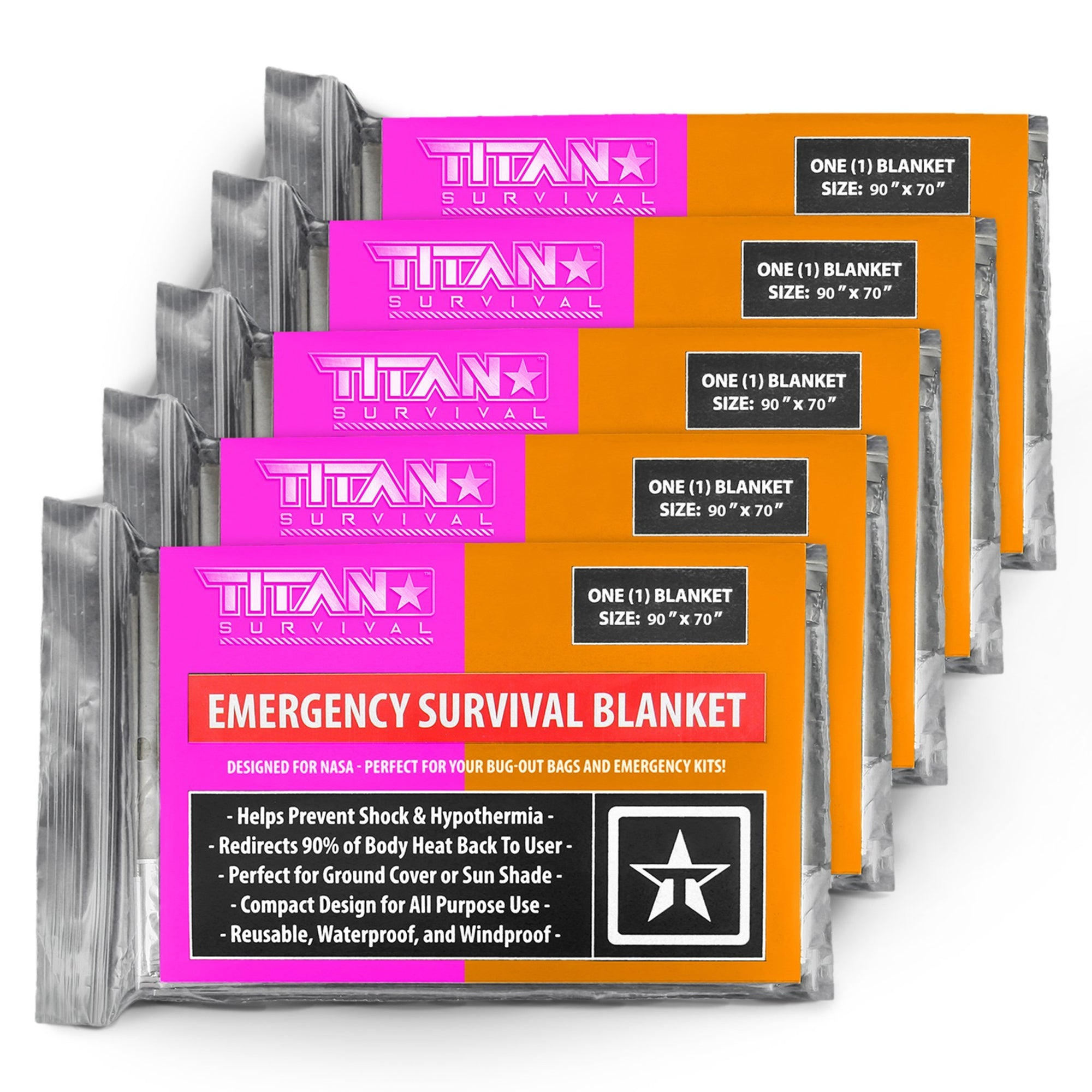 XL Mylar Survival Blankets, 5-Pack, SIGNAL PANEL Survival Blankets TITAN Survival