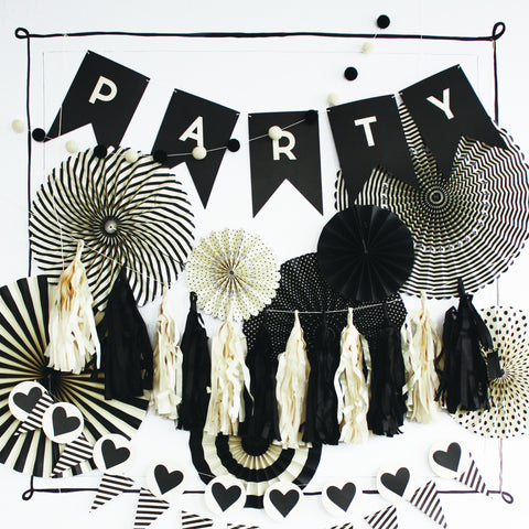 Black & White Tassel Banner