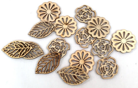 Wood Veneer Shapes - Flowers and Leaves