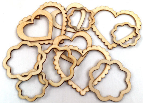 Wood Veneer Shapes - Hearts