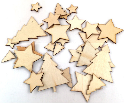 Wood Veneer Shapes - Trees and Stars