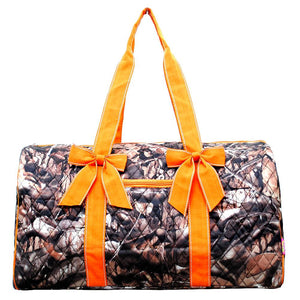 NGIL Quilted Cotton Large Duffle Bag Camo Orange