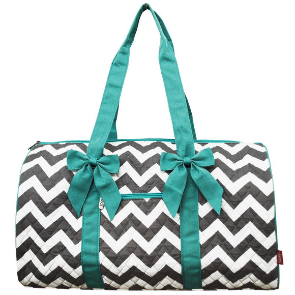 NGIL Quilted Cotton Large Duffle Bag Chevron Grey Aqua