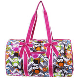 NGIL Quilted Cotton Large Duffle Bag Chevron Owl Grey