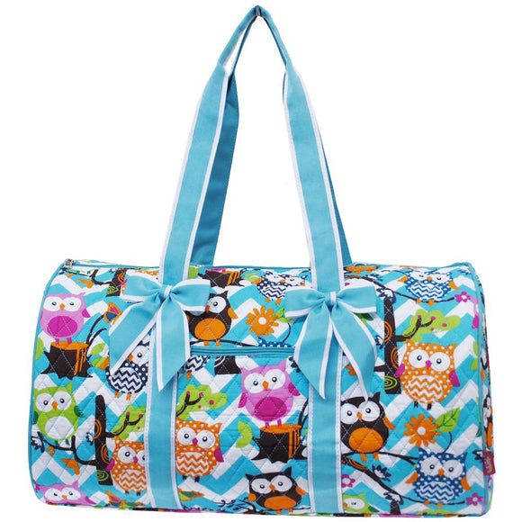 NGIL Quilted Cotton Large Duffle Bag Chevron Owl Aqua Blue