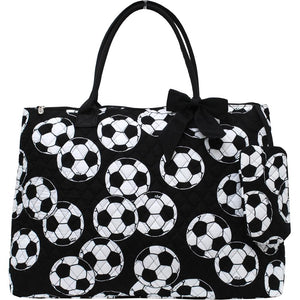 Extra Large Quilted Cotton Tote Bag Soccer Black