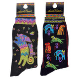 Laurel Burch Women's Crew Socks 2 Pair (Dog and Puppy, Dog Portraits)