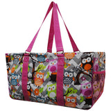 "NGIL All Purpose Open Top 23"" Classic Extra Large Utility Tote Bag Chevron Owl Grey"