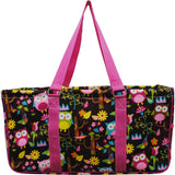"NGIL All Purpose Open Top 23"" Classic Extra Large Utility Tote Bag Owl Brown Hot Pink"