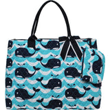 NGIL Extra Large Quilted Cotton Tote Bag Splash Whale Navy