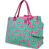 NGIL Extra Large Quilted Cotton Tote Bag Anchor Lime Pink Navy