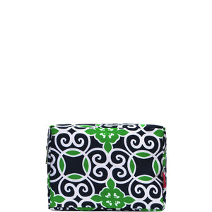 NGIL Large Travel Cosmetic Pouch Bag Geo Green Navy