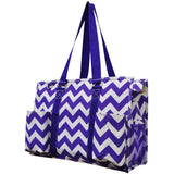 "NGIL All Purpose Organizer 18"" Large Utility Tote Bag Chevron Purple"