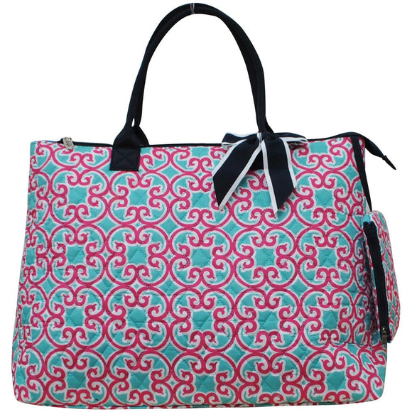 NGIL Extra Large Quilted Cotton Tote Bag Geo Turquoise Pink